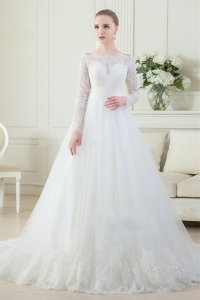 China OEM service Muslim Long Sleeve Real photo sheer A Line Wedding Dress Vestidos De Novia factory