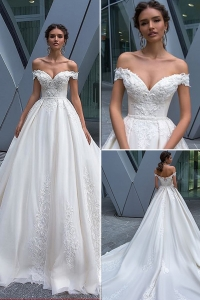 China Off-Shoulder 2019 Wedding Dress Bridal Gown a line lace fabric Bridal Dresses factory