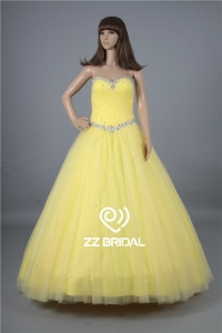 China Party dress made in China sweetheart neckline beaded lace-up yellow prom dress factory