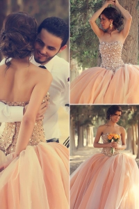 China Pink Ball Gown Lace Appliques Beaded Pearls wedding dress princess vestidos novia factory