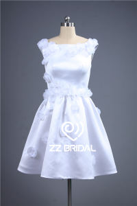 China Pure white satin cap sleeve scoop neckline handmade flowers short evening gown factory