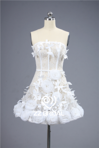 China Pure white strapless handmade flowers and butterflies short evening dress made in China factory