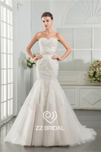 China Real images China sweetheart neckline mermaid style beaded lace appliqued wedding dress factory
