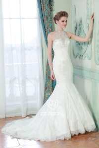 China Sign sewing beads hanging neck sleeveless lace applique trailing fishtail wedding dress factory