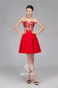China Real pictures sweetheart neckline backless red short evening dress supplier factory