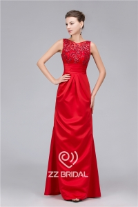 China Satin sequined V-back with bowknot long evening dress made in China factory