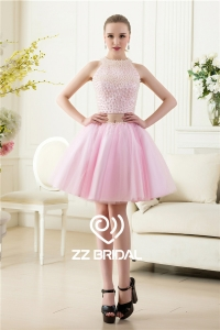 China Sexy full bodice pearls halter back out two piece pink short evening dress factory