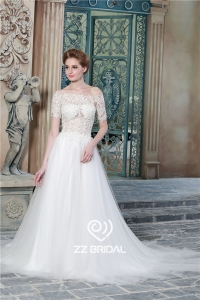 China Sexy see through style short sleeve off shoulder lace appliqued A-line bridal dress China factory