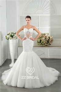 China Sexy spaghetti strap sweetheart neckline see-through mermaid bridal dress supplier factory