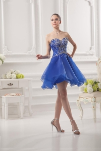 China Korte Prom Dress Girls Puffy Rok Sweetheart Beaded Organza Blue Cocktailjurk fabriek