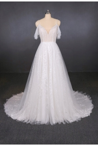 China Spaghetti Strap Wedding Dress Bridal Gown a line beading Bridal Dresses factory