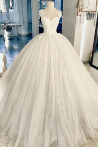 China Sweetheart Neck 3D Flowers Ball Gown Elegant Wedding Dress Custom Tulle Ivory Bride Use OEM Service Marriage Bridal Gown factory