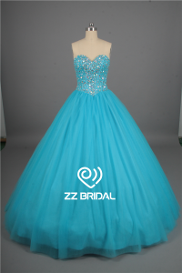 China Sweetheart neckline full bodice beaded lace-up light blue quinceanera dress factory