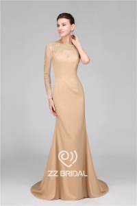 China Top quality one long sleeve see through back mermaid long evening dress supplier factory