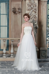 China Z bridal 2017 strapless lace appliqued beaded A-line wedding dress factory
