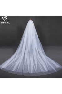 中国ZZ Bridal cathedral bridal wedding veil 2017 new design with comb工厂