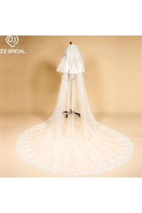 China ZZ Bridal ivory lace edge two layers bridal wedding veil with comb factory