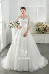 China ZZ bridal 2017 V-back lace appliqued beaded A-line wedding dress fábrica