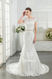 China ZZ bridal 2017 V-back lace appliqued beaded mermaid wedding dress factory
