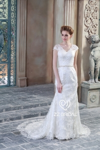 China ZZ bridal 2017 V-neck cap sleeve lace appliqued mermaid wedding dress factory