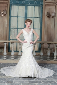 China ZZ bridal 2017 V-neck lace appliqued and beaded A-line wedding dress factory