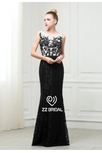 China ZZ bridal 2017 boat neck and V-back lace appliqued black evening dress factory