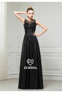 China ZZ bridal 2017 boat neck lace appliqued black long evening dress factory