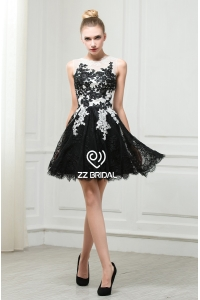 China ZZ bridal 2017 boat neck lace appliqued black short evening dress factory