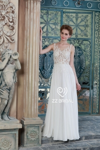 China ZZ bridal 2017 boat neck lace appliqued chiffon A-line wedding dress factory