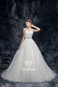 China ZZ bridal 2017 halter strap lace appliqued beaded A-line wedding dress factory