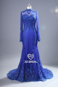China ZZ bridal 2017 high neck lace appliqued blue long evening dress factory