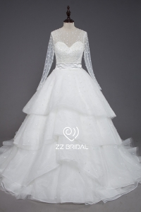 China ZZ bridal 2017 long sleeve beaded ruffled A-line wedding dress factory