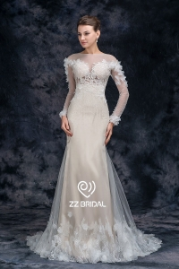 China ZZ bridal 2017 long sleeve lace appliqued beaded mermaid wedding dress factory
