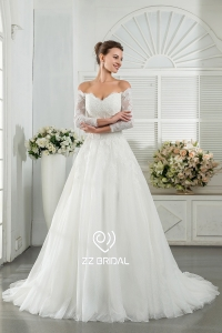 China ZZ bridal 2017 off shoulder lace appliqued A-line wedding dress factory