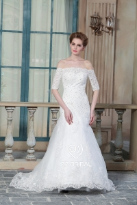 China ZZ bridal 2017 off shoulder lace appliqued and beaded mermaid wedding dress factory