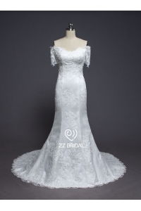 China ZZ bridal 2017 off-shoulder lace appliqued mermaid wedding dress factory