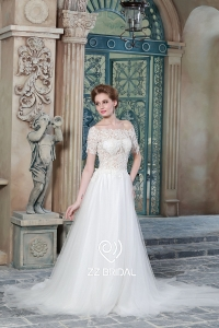 China ZZ bridal 2017 off shoulder lace appliqued short sleeve A-line wedding dress factory