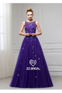 China ZZ bridal 2017 sleeveless beaded purple A-line long evening dress factory