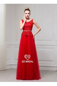 China ZZ bridal 2017 sleeveless lace appliqued red A-line long evening dress factory