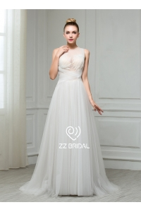 China ZZ bridal 2017 sleeveless ruffled sash A-line wedding dress factory