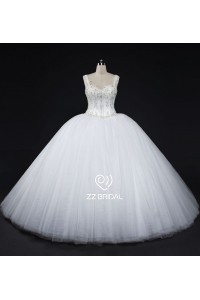 China ZZ bridal 2017 spaghetti strap beaded ball gown wedding dress factory
