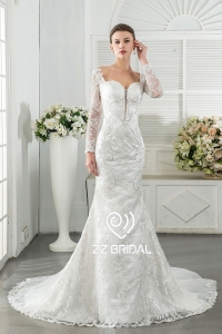 China ZZ bridal 2017 sweetheart neckline lace appliqued mermaid wedding dress factory