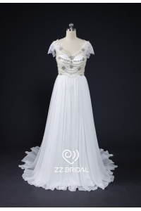 China ZZ bridal cap-sleeves beaded chiffon A-line wedding dress factory
