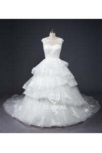 China ZZ bridal capsleeve ruffled lace appliqued ball gown wedding dress factory