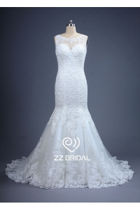 China ZZ bridal illusion neckline lace appliqued mermaid wedding dress factory