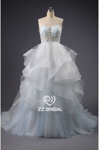 China ZZ bridal illusion neckline ruffled beaded A-line wedding dress factory