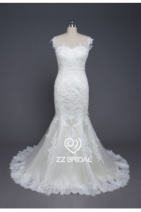 China ZZ bridal sexy see through back lace appliqued mermaid wedding dress factory