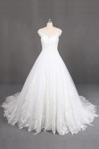 الصين مصنع ivory long train wedding gowns with handmade lace applique capshoulder wedding dress