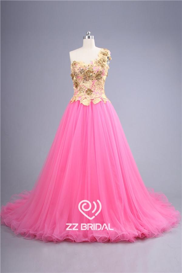 Vestido de Novia de color rosa, vestido de novia un solo hombro ...