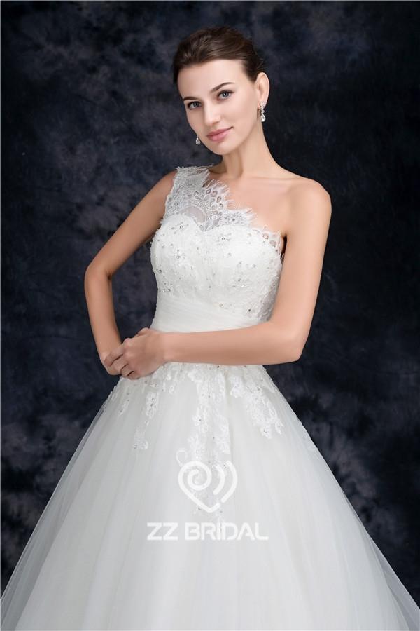 Lace wedding dress one shoulder wedding dress elegant for Lace one shoulder wedding dress